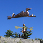 Loon and Chicks Weathervane front right angle on blue sky background