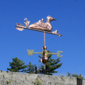 Loon and Chicks Weathervane rear angle on blue sky background