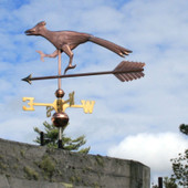 roadrunner weathervane left side view on cloudy background