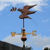 Peace Dove Weathervane with Olive Branch left rear view on blue sky background