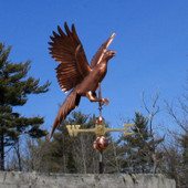 flying pheasant weathervane on blue sky background side view image