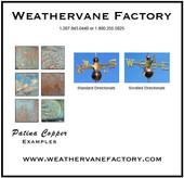 flying pheasant weathervane patina
