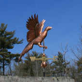 Flying Pheasant Weathervane right side view on blue sky background