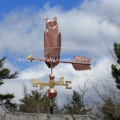 Great Horned Owl Weathervane left side view with cloudy background