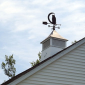 "Moon and Owl Weathervane right side on 36"" Louvered Cupola at a second floor level."