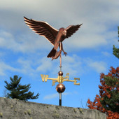 osprey weathervane front right view on blue and cloudy sky background