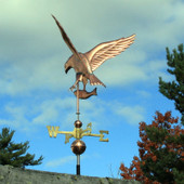 osprey weathervane rear left view on blue and cloudy sky background