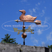 duck weathervane left side view on blue sky background