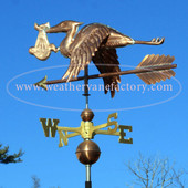 stork with baby weathervane left rear side view on blue sky background