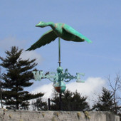Flying Goose Weathervane shown in Patina with the wings down is made right here in Eddington Maine and will look great on one of our amazing cupolas.