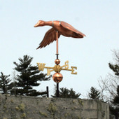 Flying Duck Weathervane with wings set, front left view on blue sky background