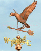 Landing Duck with Arrow Weathervane left side view on blue sky background