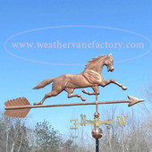 Running Horse Weathervane image side view on blue sky background