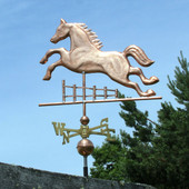 Horse Jumping a Fence Weathervane left side view on blue sky background
