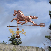 Horse Weathervane left rear view on stormy sky background