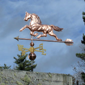 Horse Weathervane left side view on stormy sky background