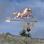 Horse Weathervane right rear angle view on gray sky background