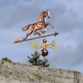 Horse Weathervane front view on gray sky background