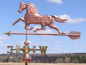 Running Horse Weathervane left side view on blue sky background