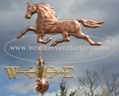 Running Horse Weathervane  side view image on cloudy background