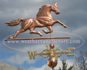 trotting horse weathervane right side view on stormy background