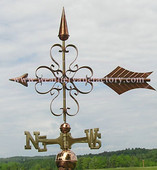 Scrolled Clover Arrow Weathervane left side view on cloudy background