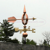 oval arrow sphere weathervane right side view on gray sky background