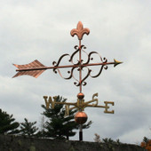 Victorian Arrow Weathervane with Fleur de Lis right  side view on stormy background