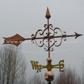 Victorian Arrow Weathervane right side view with gray sky background