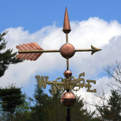 Center Arrow Weathervane right angle view on cloudy background
