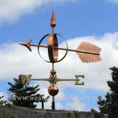 Big Arrow Sphere Weathervane left side view on cloudy background