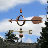 Big Arrow Sphere Weathervane right side view on cloudy background
