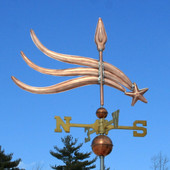 shooting star weathervane right side view on blue sky background