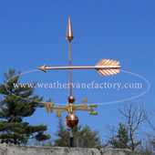 Plain Jane Arrow Weathervane Left Side View with Blue Sky Background