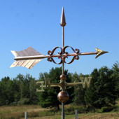 Large Fancy Arrow Weathervane right side view on blue sky background