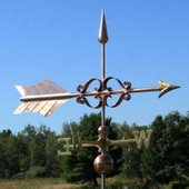 Large Fancy Arrow Weathervane right angle view on blue sky background