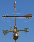 simple arrow weathervane side view on blue sky background image