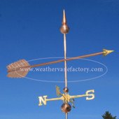 large plain arrow weathervane right side view  on blue sky background image