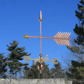 Large Arrow Weathervane left side view on blue sky background