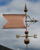 Large Banner/Flag Weathervane right side view on gray sky background