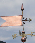 banner weathervane right side view on stormy background