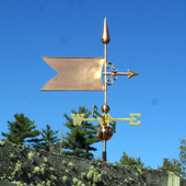 Simple Banner/Flag Weathervane right side view on blue sky background