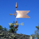 Simple Banner/Flag Weathervane slight left side view on stormy background