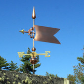 Simple Banner/Flag Weathervane left front view on stormy background