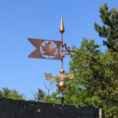 Maple Leaf Banner Weathervane right side view on blue sky background