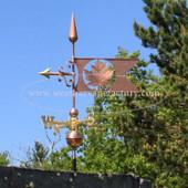 Maple Leaf Banner Weathervane left side view on blue sky background