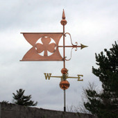Shamrock Banner Weathervane Right Side View on Stormy Background
