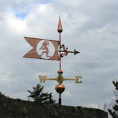 Kokepelli Banner Weathervane right side view with cloudy sky background