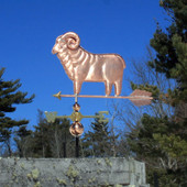 ram sheep weathervane left side view on blue sky background