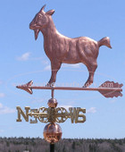 Standing Goat Weathervane left side view on blue sky background